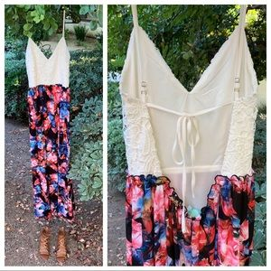 Filly Flair Open Back Floral Maxi Dress